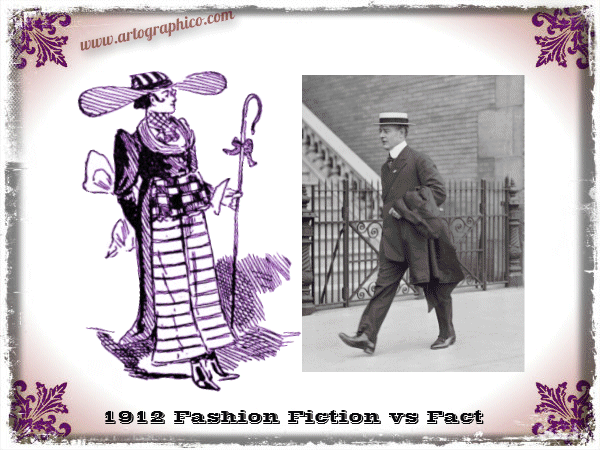 1912 Fashion - Fiction vs Fact - artographico - PNG