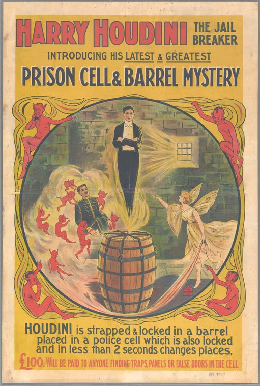 Harry Houdini - Prison Cell and Barrel Mystery Poster